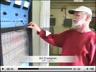 CKPT engineer Ed Crompton with the 10kw AM transmitter