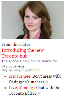Globe and Mail Toronto Hub announcement