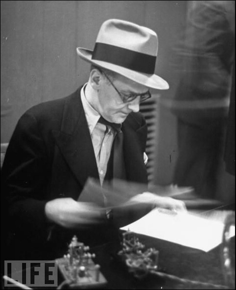 Walter Winchell with semi-automatic telegraph key